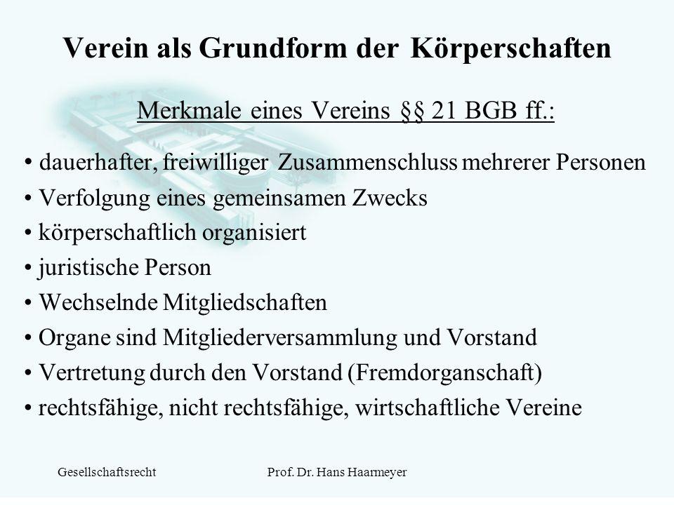 GesellschaftsrechtProf. Dr. Hans Haarmeyer Verein als Grundform der Körperschaften Merkmale eines Vereins §§ 21 BGB ff.: dauerhafter, freiwilliger Zus