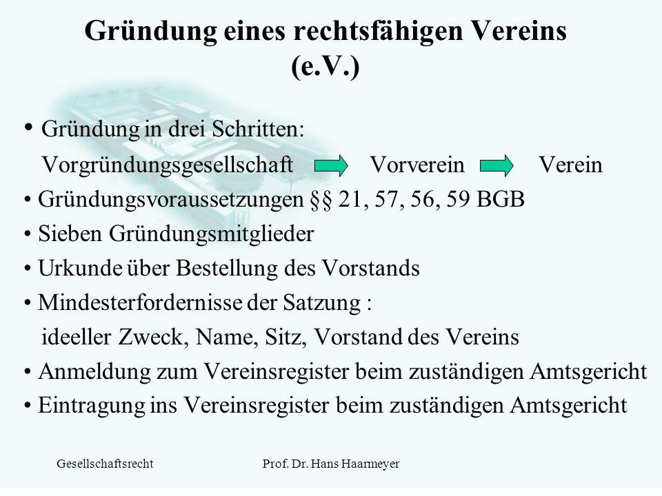 GesellschaftsrechtProf. Dr. Hans Haarmeyer Gründung eines rechtsfähigen Vereins (e.V.) Gründung in drei Schritten: Vorgründungsgesellschaft Vorverein