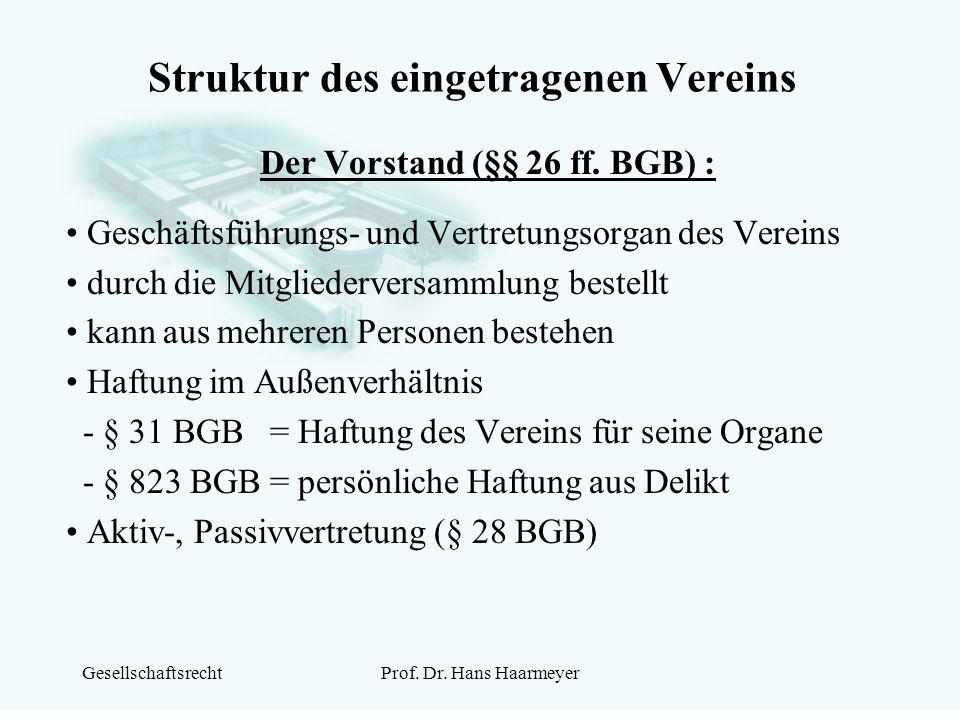 GesellschaftsrechtProf. Dr. Hans Haarmeyer Struktur des eingetragenen Vereins Der Vorstand (§§ 26 ff. BGB) : Geschäftsführungs- und Vertretungsorgan d