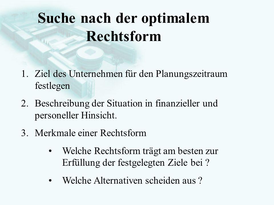 GesellschaftsrechtProf. Dr. Hans Haarmeyer Suche nach der optimalem Rechtsform 1.Ziel des Unternehmen für den Planungszeitraum festlegen 2.Beschreibun