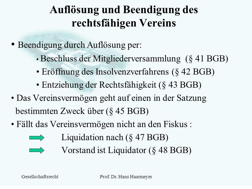 GesellschaftsrechtProf. Dr. Hans Haarmeyer Auflösung und Beendigung des rechtsfähigen Vereins Beendigung durch Auflösung per: Beschluss der Mitglieder