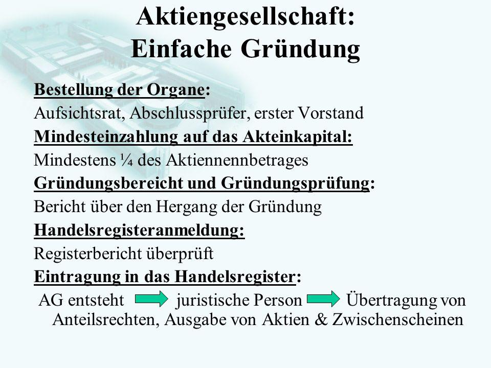GesellschaftsrechtProf. Dr. Hans Haarmeyer Aktiengesellschaft: Einfache Gründung Bestellung der Organe: Aufsichtsrat, Abschlussprüfer, erster Vorstand