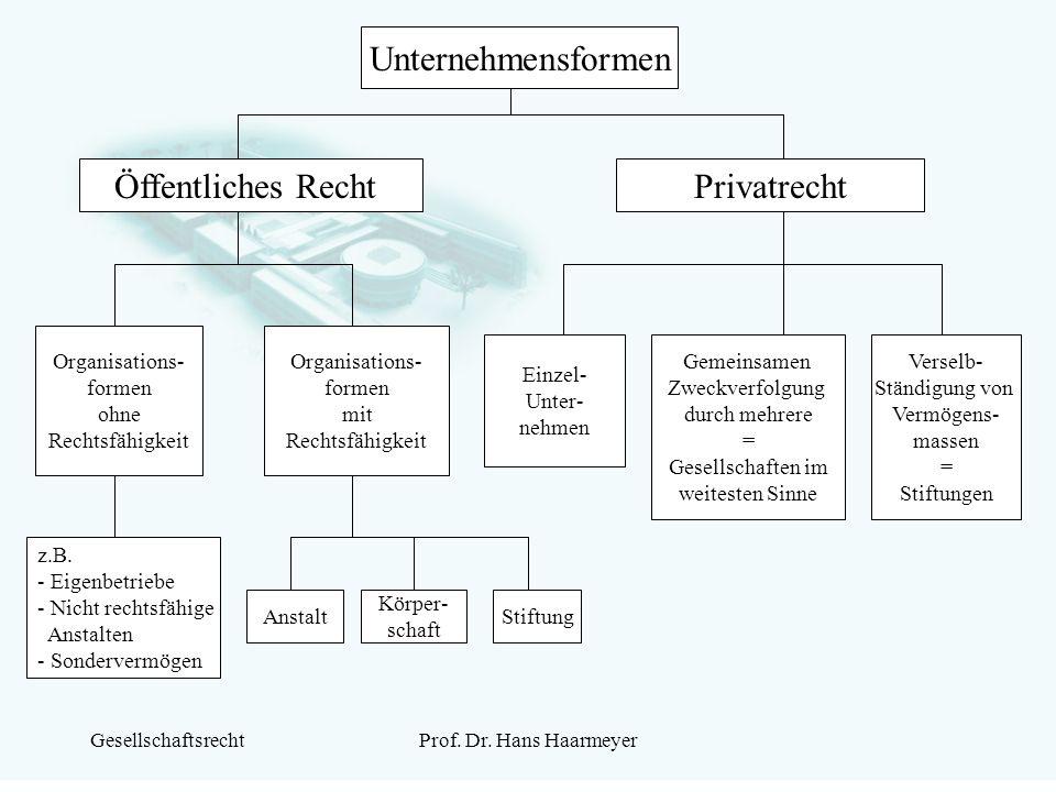 GesellschaftsrechtProf. Dr. Hans Haarmeyer Unternehmensformen Öffentliches RechtPrivatrecht Organisations- formen mit Rechtsfähigkeit Organisations- f