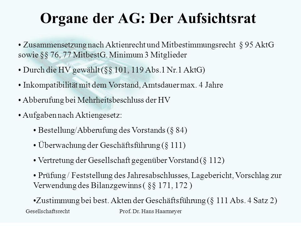 GesellschaftsrechtProf. Dr. Hans Haarmeyer Organe der AG: Der Aufsichtsrat Zusammensetzung nach Aktienrecht und Mitbestimmungsrecht § 95 AktG sowie §§