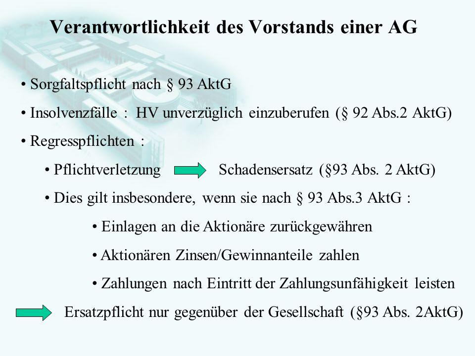 GesellschaftsrechtProf. Dr. Hans Haarmeyer Verantwortlichkeit des Vorstands einer AG Sorgfaltspflicht nach § 93 AktG Insolvenzfälle : HV unverzüglich