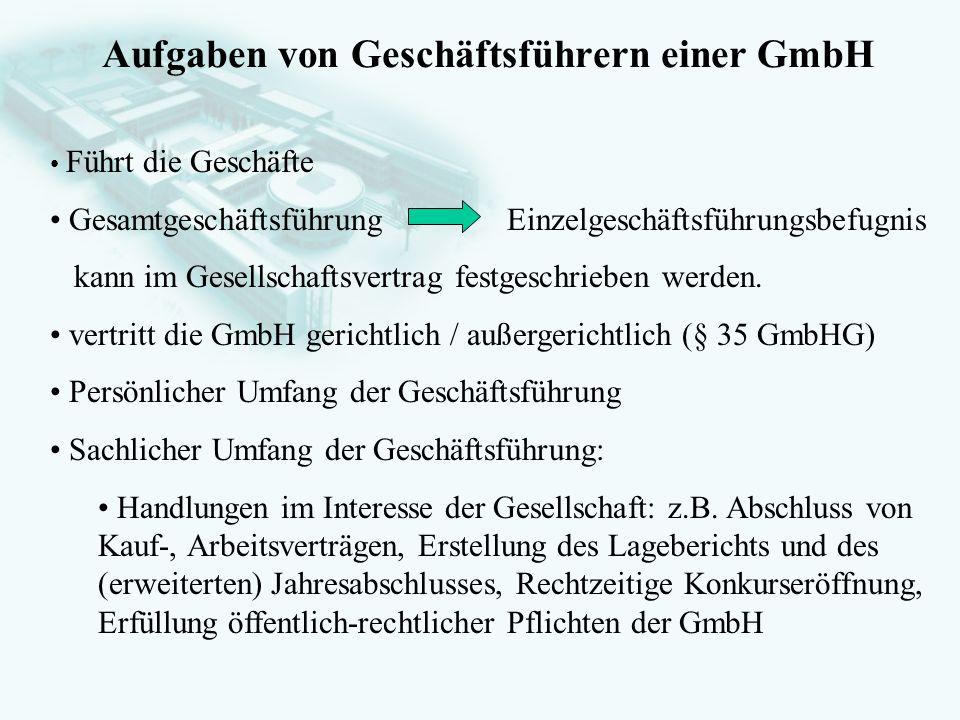 GesellschaftsrechtProf. Dr. Hans Haarmeyer Aufgaben von Geschäftsführern einer GmbH Führt die Geschäfte Gesamtgeschäftsführung Einzelgeschäftsführungs