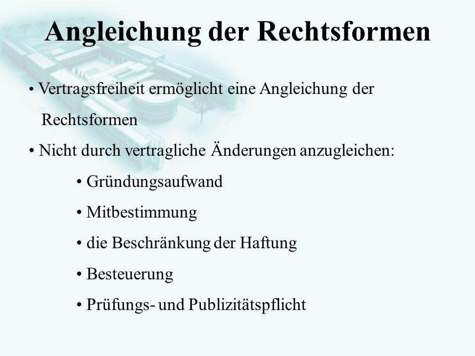 GesellschaftsrechtProf. Dr. Hans Haarmeyer Angleichung der Rechtsformen Vertragsfreiheit ermöglicht eine Angleichung der Rechtsformen Nicht durch vert