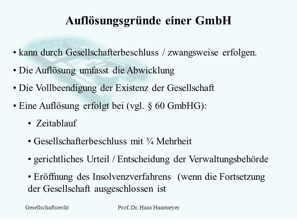 GesellschaftsrechtProf. Dr. Hans Haarmeyer Auflösungsgründe einer GmbH kann durch Gesellschafterbeschluss / zwangsweise erfolgen. Die Auflösung umfass