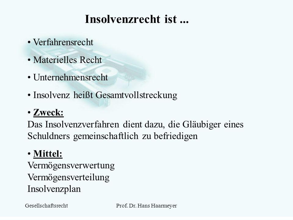GesellschaftsrechtProf. Dr. Hans Haarmeyer Insolvenzrecht ist... Verfahrensrecht Materielles Recht Unternehmensrecht Insolvenz heißt Gesamtvollstrecku