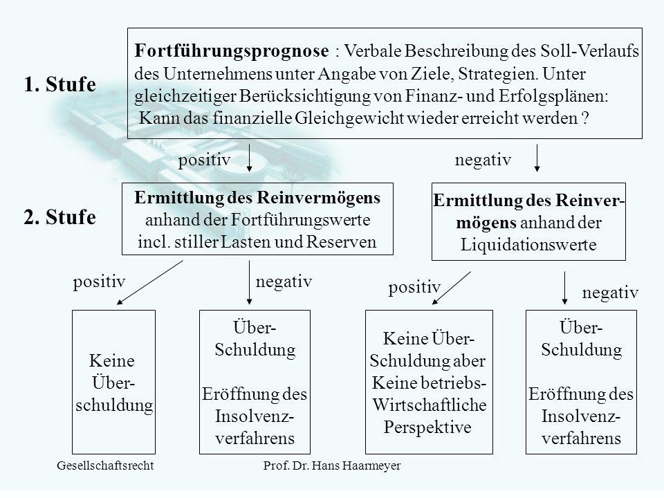 GesellschaftsrechtProf. Dr. Hans Haarmeyer 1. Stufe Fortführungsprognose : Verbale Beschreibung des Soll-Verlaufs des Unternehmens unter Angabe von Zi