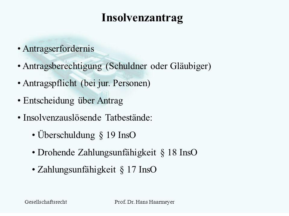 GesellschaftsrechtProf. Dr. Hans Haarmeyer Insolvenzantrag Antragserfordernis Antragsberechtigung (Schuldner oder Gläubiger) Antragspflicht (bei jur.