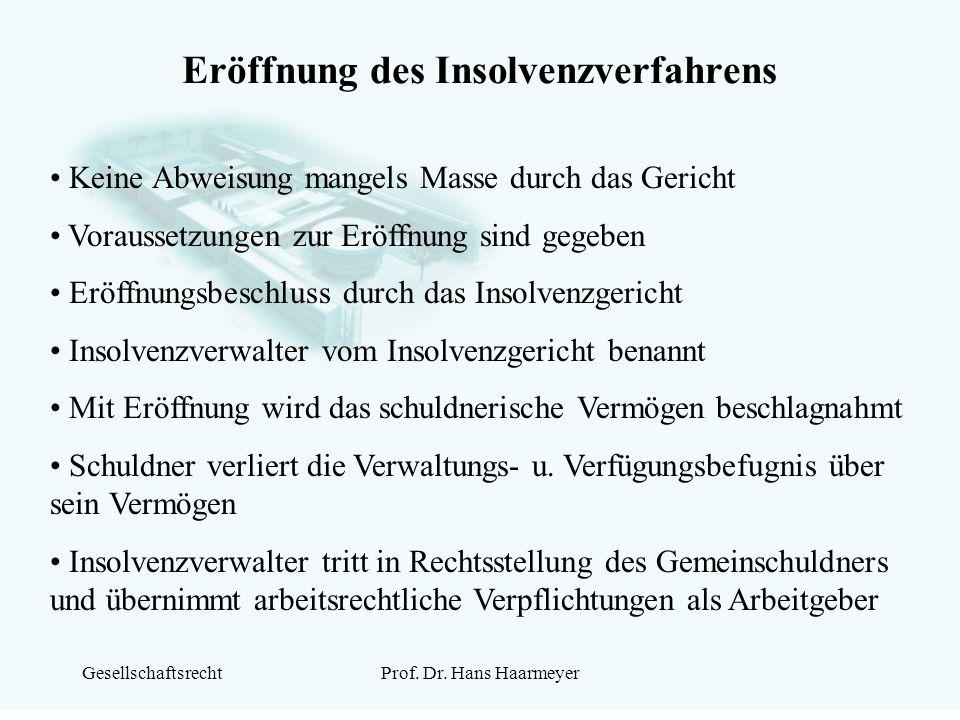 GesellschaftsrechtProf. Dr. Hans Haarmeyer Eröffnung des Insolvenzverfahrens Keine Abweisung mangels Masse durch das Gericht Voraussetzungen zur Eröff