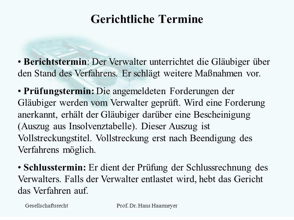 GesellschaftsrechtProf. Dr. Hans Haarmeyer Gerichtliche Termine Berichtstermin: Der Verwalter unterrichtet die Gläubiger über den Stand des Verfahrens