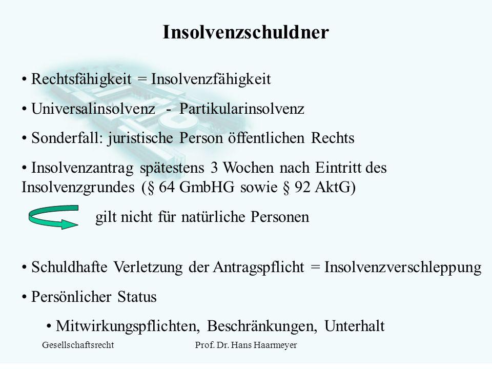GesellschaftsrechtProf. Dr. Hans Haarmeyer Insolvenzschuldner Rechtsfähigkeit = Insolvenzfähigkeit Universalinsolvenz - Partikularinsolvenz Sonderfall