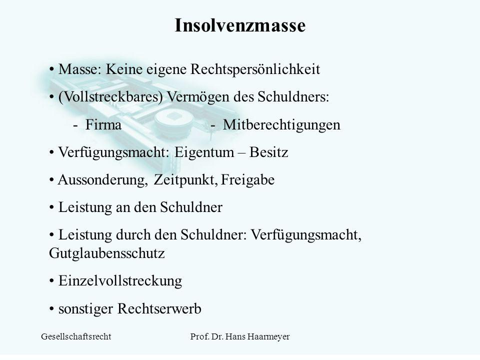 GesellschaftsrechtProf. Dr. Hans Haarmeyer Insolvenzmasse Masse: Keine eigene Rechtspersönlichkeit (Vollstreckbares) Vermögen des Schuldners: - Firma