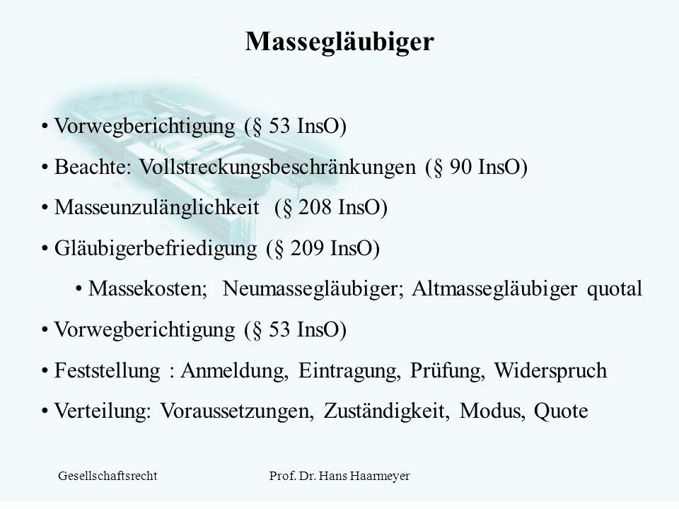 GesellschaftsrechtProf. Dr. Hans Haarmeyer Massegläubiger Vorwegberichtigung (§ 53 InsO) Beachte: Vollstreckungsbeschränkungen (§ 90 InsO) Masseunzulä