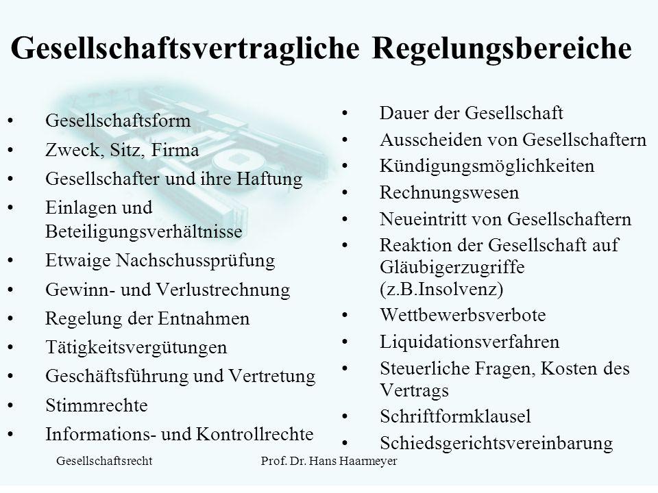 GesellschaftsrechtProf. Dr. Hans Haarmeyer Gesellschaftsvertragliche Regelungsbereiche Gesellschaftsform Zweck, Sitz, Firma Gesellschafter und ihre Ha