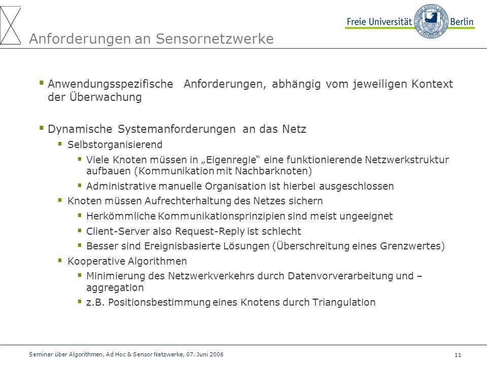 11 Seminar über Algorithmen, Ad Hoc & Sensor Netzwerke, 07. Juni 2006 Anforderungen an Sensornetzwerke  Anwendungsspezifische Anforderungen, abhängig