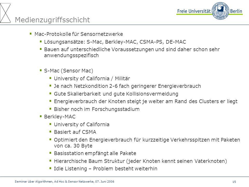 15 Seminar über Algorithmen, Ad Hoc & Sensor Netzwerke, 07. Juni 2006 Medienzugriffsschicht  Mac-Protokolle für Sensornetzwerke  Lösungsansätze: S-M