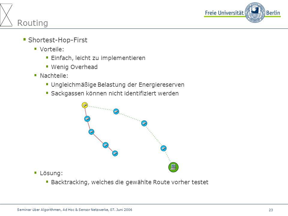 23 Seminar über Algorithmen, Ad Hoc & Sensor Netzwerke, 07. Juni 2006 Routing  Shortest-Hop-First  Vorteile:  Einfach, leicht zu implementieren  W