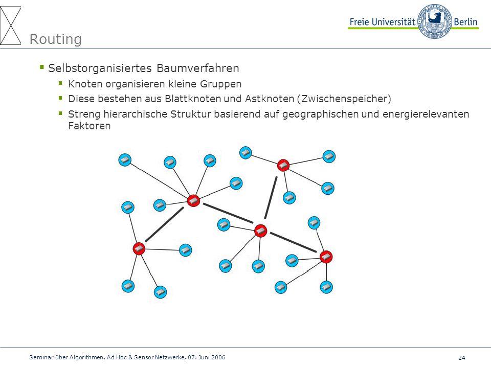 24 Seminar über Algorithmen, Ad Hoc & Sensor Netzwerke, 07. Juni 2006 Routing  Selbstorganisiertes Baumverfahren  Knoten organisieren kleine Gruppen