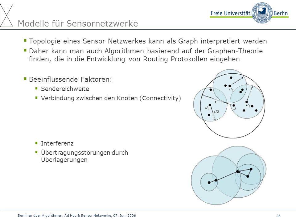 28 Seminar über Algorithmen, Ad Hoc & Sensor Netzwerke, 07. Juni 2006 Modelle für Sensornetzwerke  Topologie eines Sensor Netzwerkes kann als Graph i