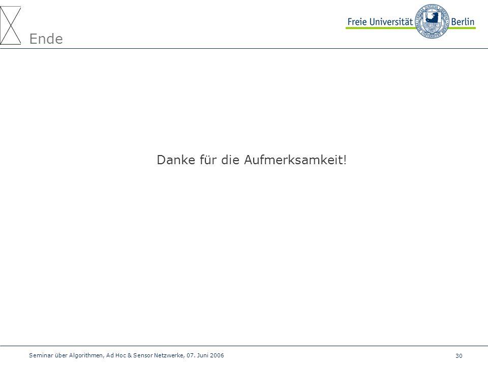 30 Seminar über Algorithmen, Ad Hoc & Sensor Netzwerke, 07. Juni 2006 Ende Danke für die Aufmerksamkeit!