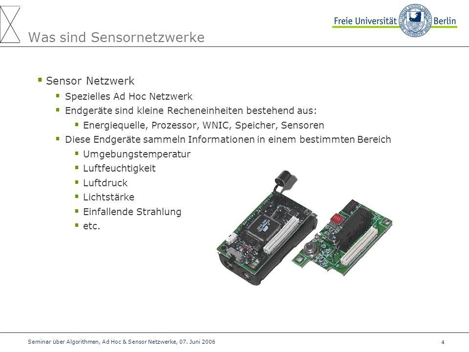 4 Seminar über Algorithmen, Ad Hoc & Sensor Netzwerke, 07. Juni 2006 Was sind Sensornetzwerke  Sensor Netzwerk  Spezielles Ad Hoc Netzwerk  Endgerä