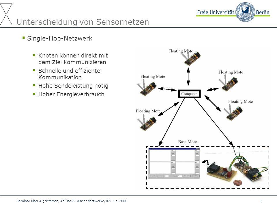 5 Seminar über Algorithmen, Ad Hoc & Sensor Netzwerke, 07. Juni 2006 Unterscheidung von Sensornetzen  Single-Hop-Netzwerk  Knoten können direkt mit