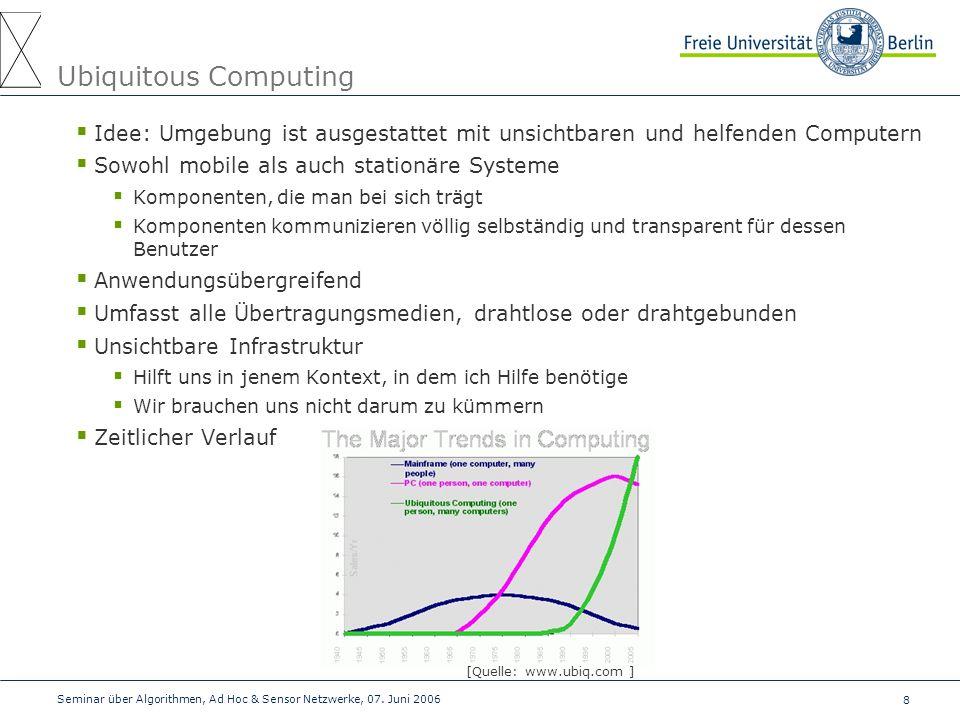 8 Seminar über Algorithmen, Ad Hoc & Sensor Netzwerke, 07. Juni 2006 Ubiquitous Computing  Idee: Umgebung ist ausgestattet mit unsichtbaren und helfe