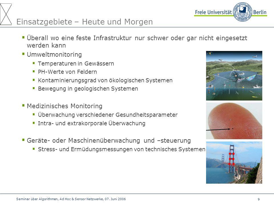 9 Seminar über Algorithmen, Ad Hoc & Sensor Netzwerke, 07. Juni 2006 Einsatzgebiete – Heute und Morgen  Überall wo eine feste Infrastruktur nur schwe