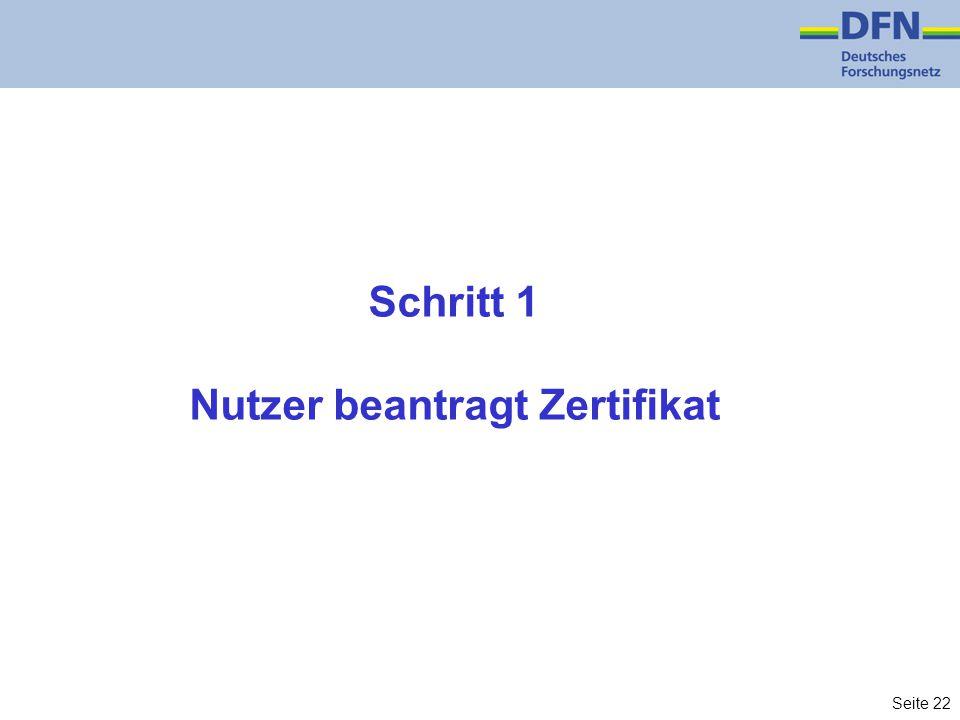 Seite 22 Schritt 1 Nutzer beantragt Zertifikat
