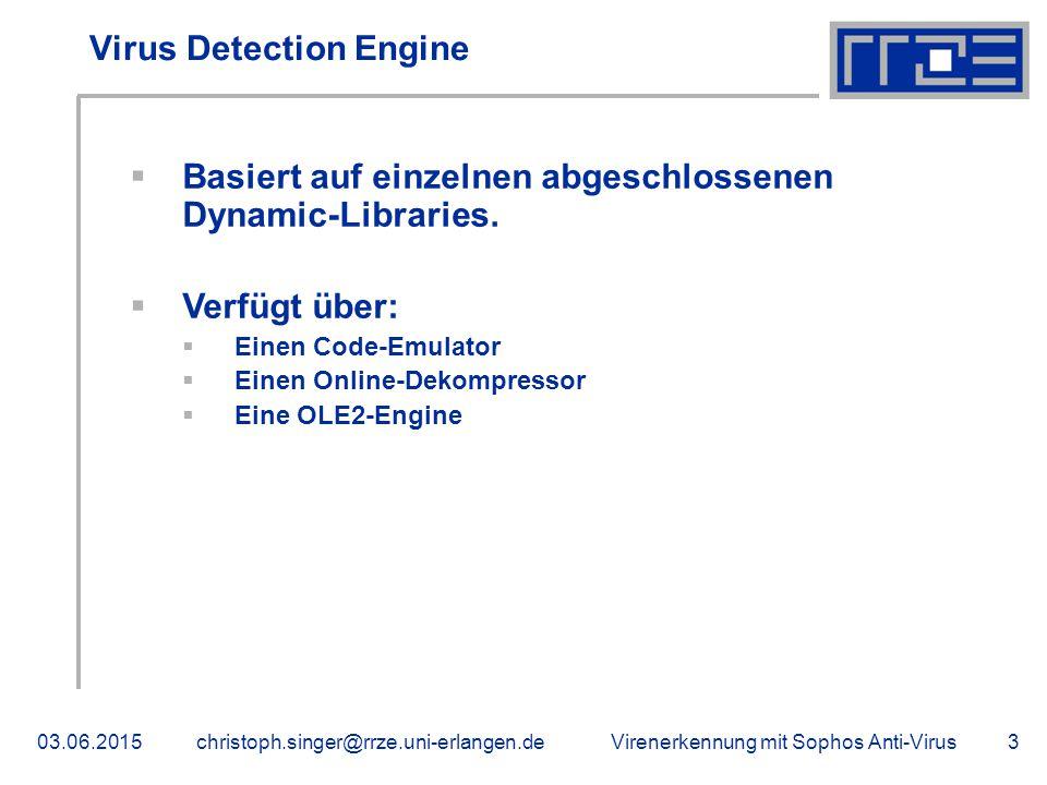 Virenerkennung mit Sophos Anti-Virus03.06.2015christoph.singer@rrze.uni-erlangen.de3 Virus Detection Engine  Basiert auf einzelnen abgeschlossenen Dynamic-Libraries.