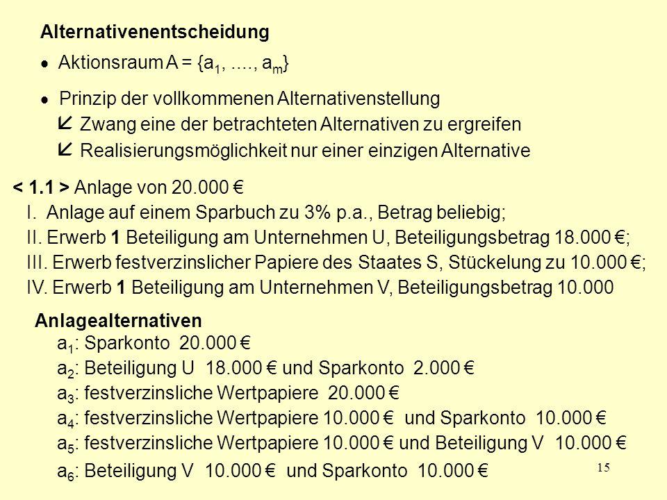15 Alternativenentscheidung  Aktionsraum A = {a 1,...., a m }  Prinzip der vollkommenen Alternativenstellung  Zwang eine der betrachteten Alternati