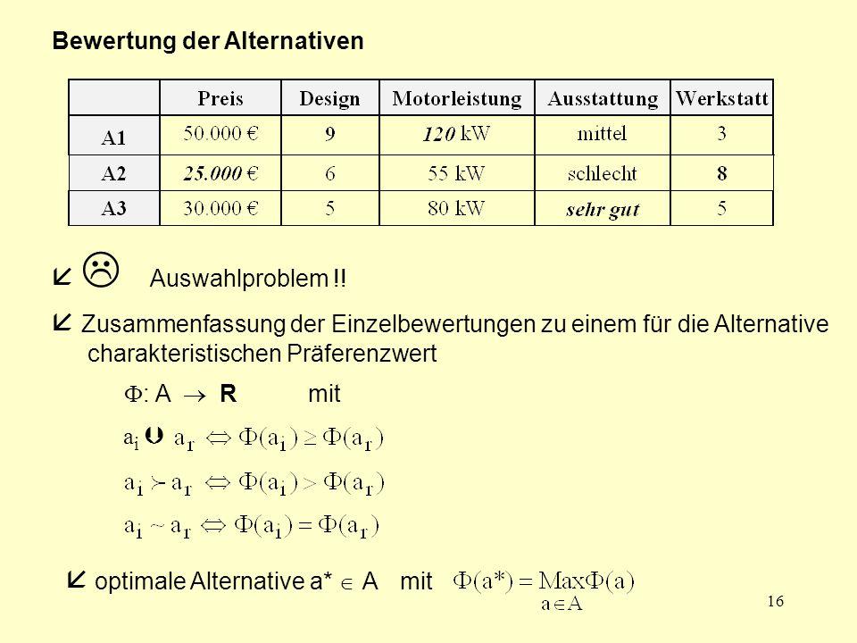 16 Bewertung der Alternativen   Auswahlproblem !!  Zusammenfassung der Einzelbewertungen zu einem für die Alternative charakteristischen Präferenzw