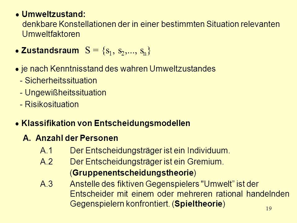 19  Umweltzustand: denkbare Konstellationen der in einer bestimmten Situation relevanten Umweltfaktoren  Zustandsraum S = {s 1, s 2,..., s n }  je