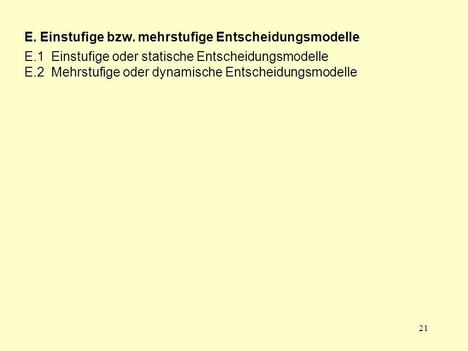 21 E. Einstufige bzw. mehrstufige Entscheidungsmodelle E.1 Einstufige oder statische Entscheidungsmodelle E.2 Mehrstufige oder dynamische Entscheidung