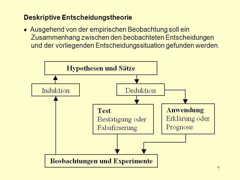 7 Deskriptive Entscheidungstheorie  Ausgehend von der empirischen Beobachtung soll ein Zusammenhang zwischen den beobachteten Entscheidungen und der