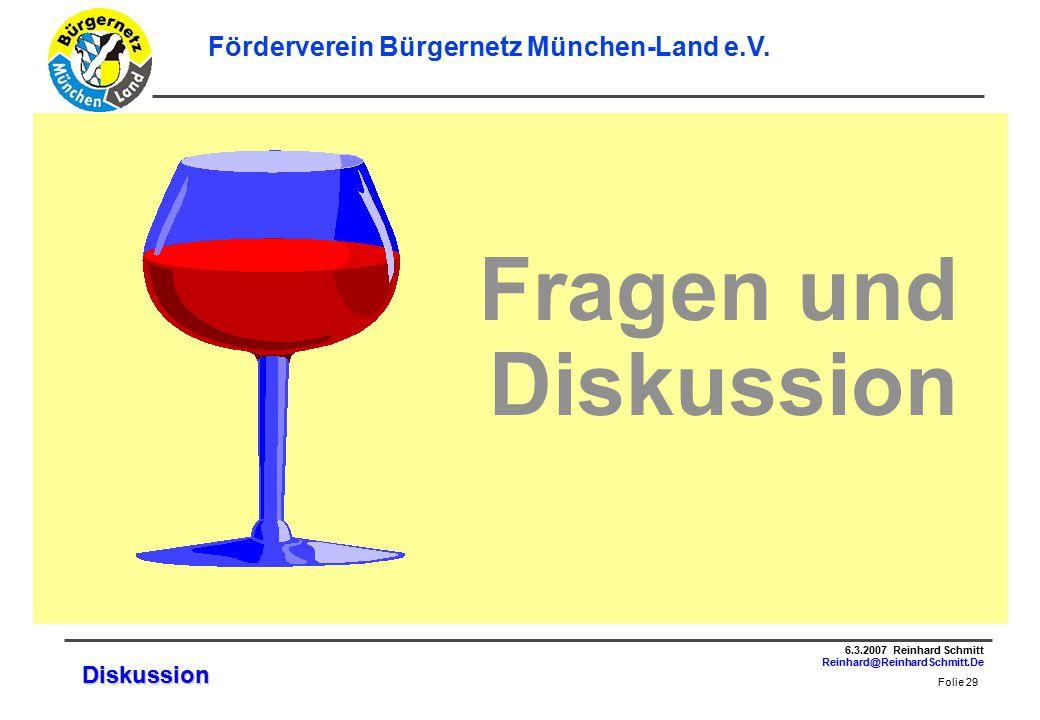 Folie 29 6.3.2007 Reinhard Schmitt Reinhard@ReinhardSchmitt.De Förderverein Bürgernetz München-Land e.V.