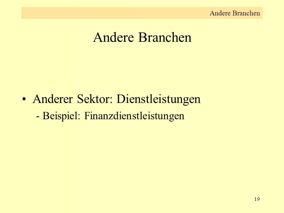19 Andere Branchen Anderer Sektor: Dienstleistungen - Beispiel: Finanzdienstleistungen Andere Branchen