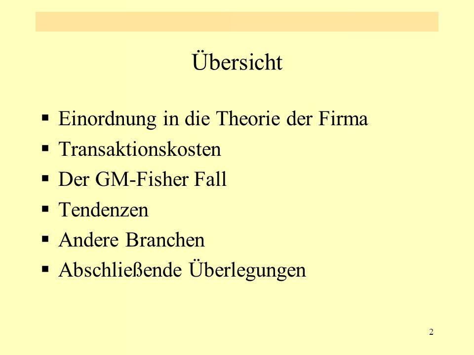 2 Übersicht  Einordnung in die Theorie der Firma  Transaktionskosten  Der GM-Fisher Fall  Tendenzen  Andere Branchen  Abschließende Überlegungen