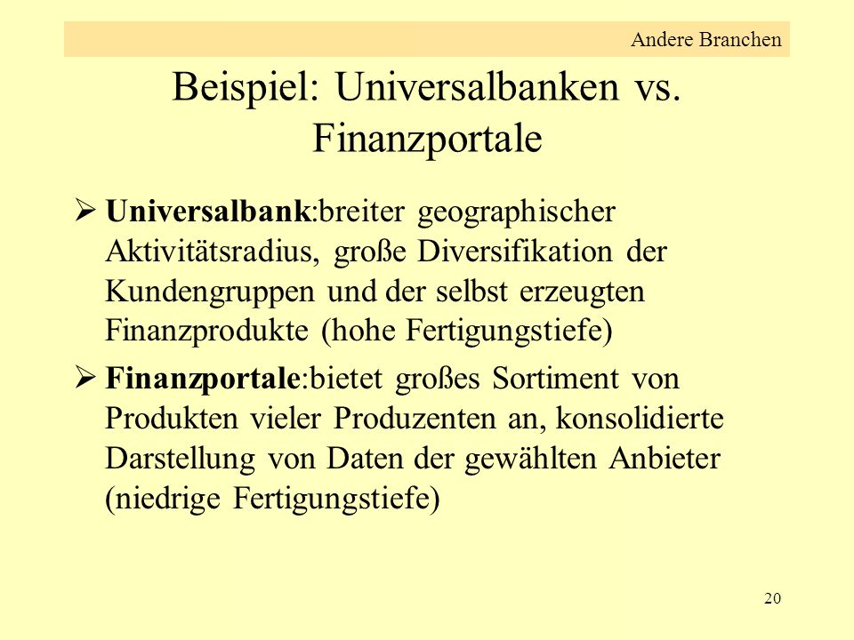 20 Beispiel: Universalbanken vs. Finanzportale  Universalbank:breiter geographischer Aktivitätsradius, große Diversifikation der Kundengruppen und de