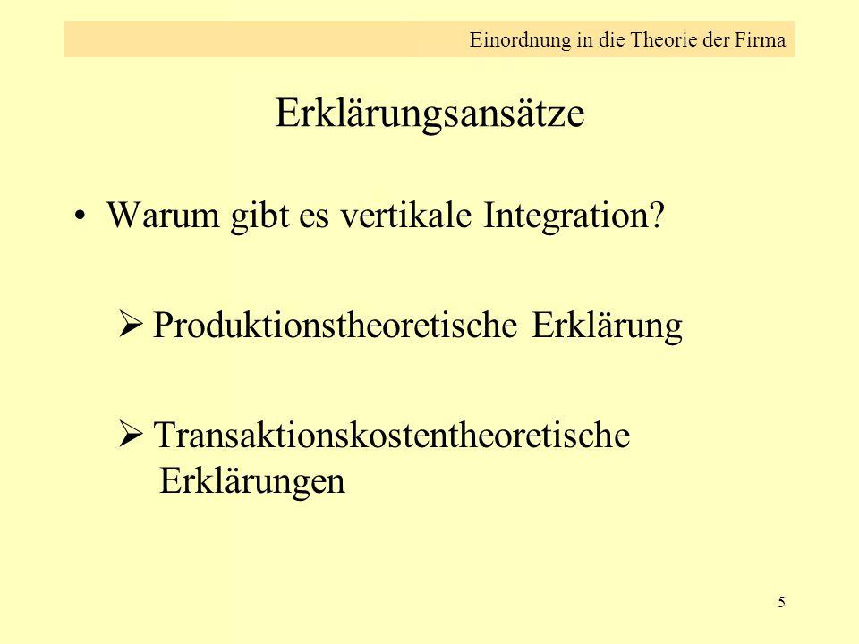 5 Erklärungsansätze Warum gibt es vertikale Integration?  Produktionstheoretische Erklärung  Transaktionskostentheoretische Erklärungen Einordnung i
