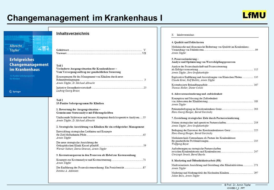 © Prof. Dr. Armin Töpfer LfMU Changemanagement im Krankenhaus I KHM560-1_2.PPT