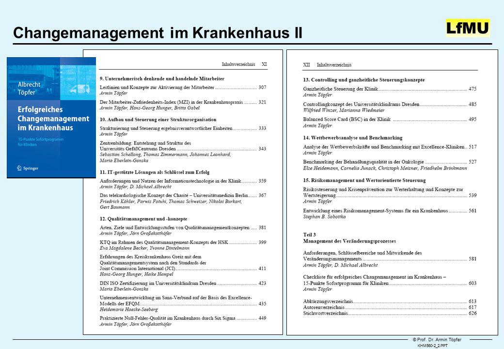 © Prof. Dr. Armin Töpfer LfMU Changemanagement im Krankenhaus II KHM560-2_2.PPT