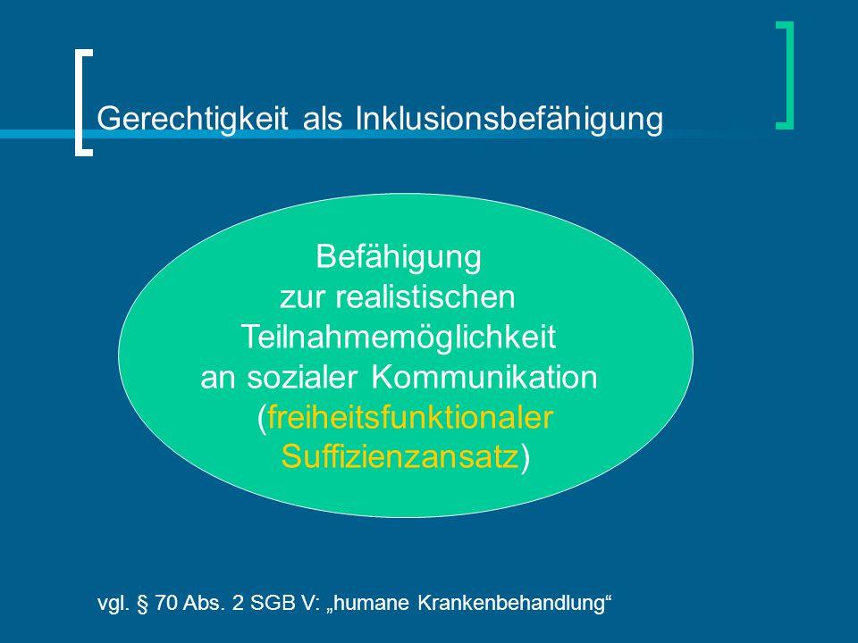 """Befähigung zur realistischen Teilnahmemöglichkeit an sozialer Kommunikation (freiheitsfunktionaler Suffizienzansatz) vgl. § 70 Abs. 2 SGB V: """"humane K"""