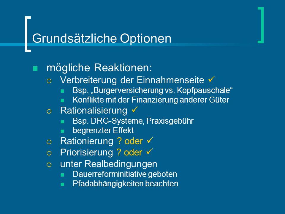 """Grundsätzliche Optionen mögliche Reaktionen:  Verbreiterung der Einnahmenseite Bsp. """"Bürgerversicherung vs. Kopfpauschale"""" Konflikte mit der Finanzie"""