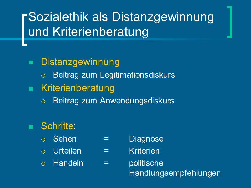 Sozialethik als Distanzgewinnung und Kriterienberatung Distanzgewinnung  Beitrag zum Legitimationsdiskurs Kriterienberatung  Beitrag zum Anwendungsd