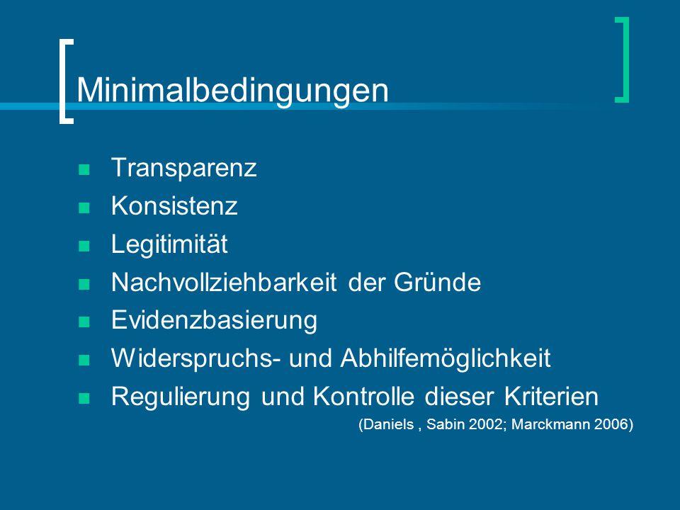 Minimalbedingungen Transparenz Konsistenz Legitimität Nachvollziehbarkeit der Gründe Evidenzbasierung Widerspruchs- und Abhilfemöglichkeit Regulierung