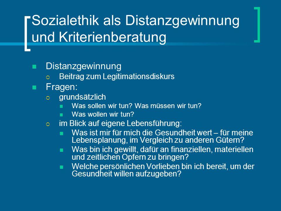 Sozialethik als Distanzgewinnung und Kriterienberatung Distanzgewinnung  Beitrag zum Legitimationsdiskurs Fragen:  grundsätzlich Was sollen wir tun?